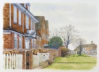 建ち並ぶ煉瓦造りの家 秋 水彩イラスト