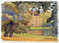 家にある庭と池の風景 秋 水彩イラスト