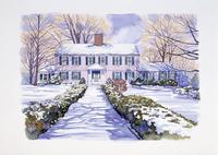 雪が積もった家の前の道 水彩イラスト