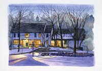 雪が積もった家の夕暮れ風景 水彩イラスト