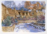 雪景色の家並み 水彩イラスト
