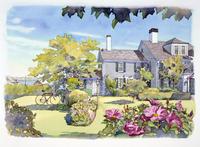 花が咲く庭のある家 水彩イラスト