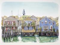 海の側に立っている家の風景 水彩イラスト
