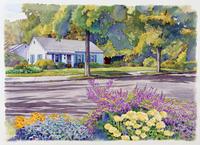 木のある家の風景 水彩イラスト