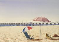 桟橋とパラソル 02290000192| 写真素材・ストックフォト・画像・イラスト素材|アマナイメージズ