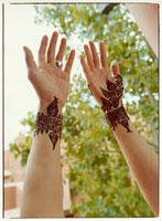 結婚式用の花嫁のボディペインティング マラケッシュ モロッコ