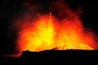 噴火する火山