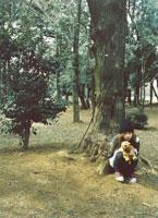 座る縫いぐるみを抱く日本人女性