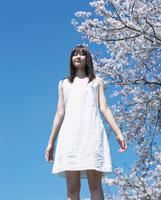 立つ日本人女性と桜と青空
