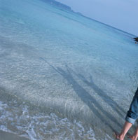 海に映る万歳する人物の影 入田浜 下田市 静岡県 02299002550| 写真素材・ストックフォト・画像・イラスト素材|アマナイメージズ