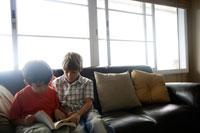 窓辺でソファーに座り本を読む2人の男の子