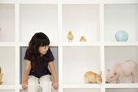 白い棚に座る女の子とブタ、ウサギ、ヒヨコ