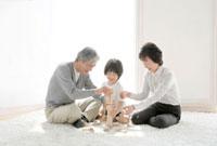 積み木で遊ぶ祖父母と孫息子