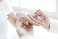 新婦に指輪をはめる新郎の手元 02299008135| 写真素材・ストックフォト・画像・イラスト素材|アマナイメージズ
