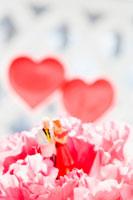 花の中に立つカップルのフィギュアとハート