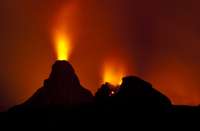 Volcano erupting at night, Hawaii Volcanoes National Park, H