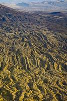 Lichen-covered lava flows, (aerial), Landmannalaugar, Icelan
