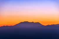 高ボッチから夕焼けの御嶽山