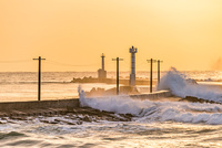 夕暮れの三国サンセットビーチ