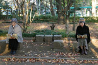 公園のベンチで読書をするシニア女性2人 02332000068| 写真素材・ストックフォト・画像・イラスト素材|アマナイメージズ