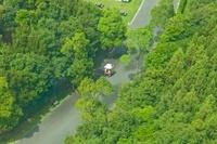 浜松ガーデンパークを乗り物で移動する人