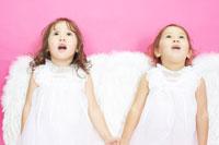 天使の羽を付けた白人の双子