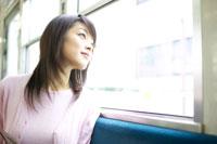 電車の窓から外を眺める女性