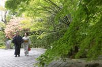 石畳を歩く着物姿のシニア夫妻 02336002094| 写真素材・ストックフォト・画像・イラスト素材|アマナイメージズ