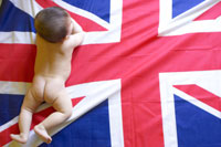 イギリス国旗と裸の赤ちゃん
