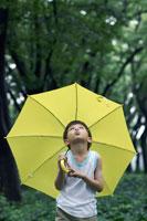黄色い傘をさし空を見る男の子