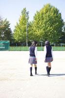 校庭に立つ2人の女子中学生の後ろ姿