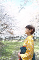 桜の前に立つ袴姿の女子大学生