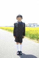 ランドセルを背負って立つ男子小学生 02336005295| 写真素材・ストックフォト・画像・イラスト素材|アマナイメージズ