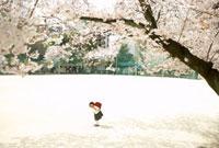 桜と校庭に立つ小学生の女の子