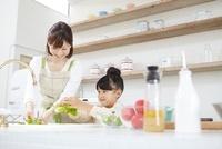 キッチンでグリーンリーフを洗う母親と女の子