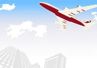 飛行機と高層ビル 02342000002| 写真素材・ストックフォト・画像・イラスト素材|アマナイメージズ