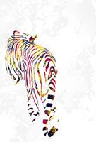 後ろ姿のカラフルな柄の虎