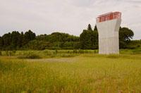 建築中の橋脚と草地