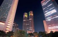 議事堂通りから見る東京都庁と第一本庁舎 02350000100| 写真素材・ストックフォト・画像・イラスト素材|アマナイメージズ