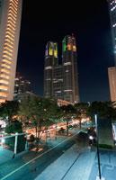 議事堂通りから見る東京都庁と第一本庁舎 02350000101| 写真素材・ストックフォト・画像・イラスト素材|アマナイメージズ