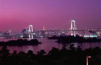 レインボーブリッジと東京タワーのライトアップ 02350000193| 写真素材・ストックフォト・画像・イラスト素材|アマナイメージズ