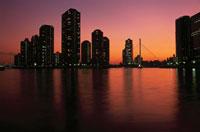 高層マンション群と中央大橋の夜景 02350000210| 写真素材・ストックフォト・画像・イラスト素材|アマナイメージズ