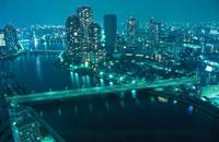 隅田川や佃大橋の夜景 02350000243  写真素材・ストックフォト・画像・イラスト素材 アマナイメージズ