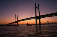 大黒埠頭から横浜ベイブリッジを望む夜景