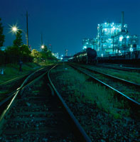 川崎区千鳥町近辺の工場地帯のレール
