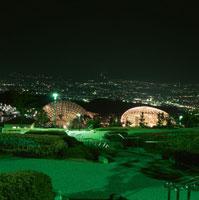 公園と富士山と甲府盆地の夜景