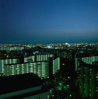浦安のマンション群と葛西の夜景 02350001472| 写真素材・ストックフォト・画像・イラスト素材|アマナイメージズ