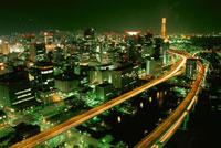 阪神高速と三宮方面の夜景