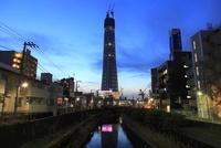 建築中の東京スカイツリーと北十間川