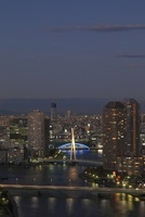 勝どきより隅田川と東京スカイツリーの夜景を望む 02350002789| 写真素材・ストックフォト・画像・イラスト素材|アマナイメージズ
